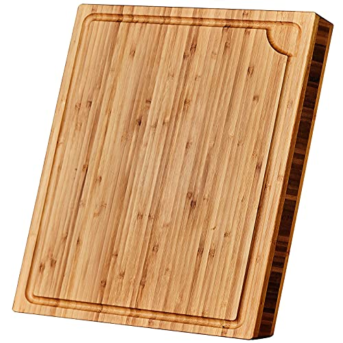 """Large Bamboo Cutting Board with Juice Groove – Wooden Cutting Boards for Kitchen - 18 x 14 x 1.3"""" - Organic Wood Butcher Block with Slanted Sides for Easy Grab - Chopping Board for Meat and Vegetables"""