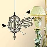 Decoración de la pared del hogar jaula de pájaros pegatinas de pared sala de estar decoración del hogar vinilo extraíble pájaro tatuajes de pared pegatinas de arte 50 * 57 CM