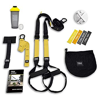 TRX All In One Home Gym Bundle  Includes All-In-One Suspension Trainer Indoor & Outdoor Anchors TRX XMount Wall Anchor 4 Exercise Bands & Shaker Bottle