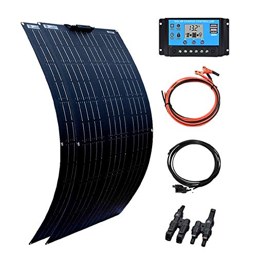 XINPUGUANG 200 Watt 12 Volt Solarpanel Kit Off Grid System, 2 x 100 W Hocheffiziente flexible Mono-PV-Solarmodule 20A Solarladeregler für Boot, Wohnwagen, Wohnmobil, 12V Batterieladung (200)