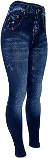 CLOYA Women's Denim Print Jeans Seamless Full Length Fleece Lined Leggings