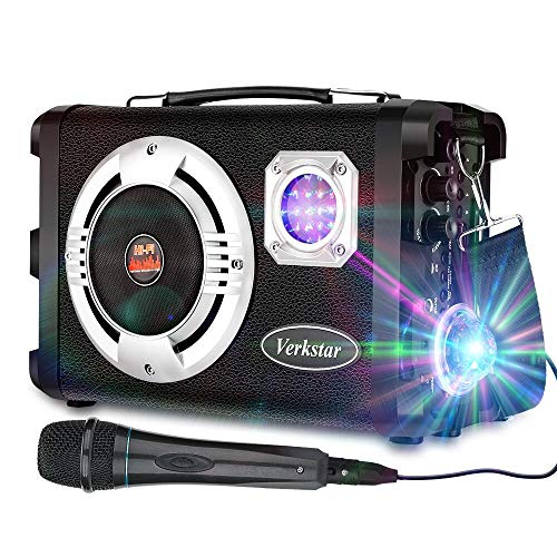 Verkstar Karaoke Machine Portable PA System Rechargeable Wireless Bluetooth Speaker for Kids & Adults with Disco Ball&Wired Microphone for Birthday, Parties,Indoor Outdoor Activities