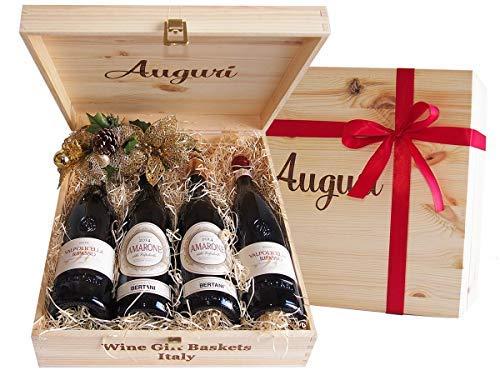 """Wein in Original Holzkiste """"Geschenk Holzkiste Auguri Amarone und Valpolicella Weine Ripasso Bertani Veneto"""" Geschenkset Italienisches Wein – Code 83"""