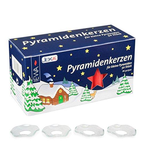 ChristKindl-Markt Jeka Red Medium 14mm Pyramidenkerzen German Candles with Glass Drip Catchers (4 Drip Catchers)