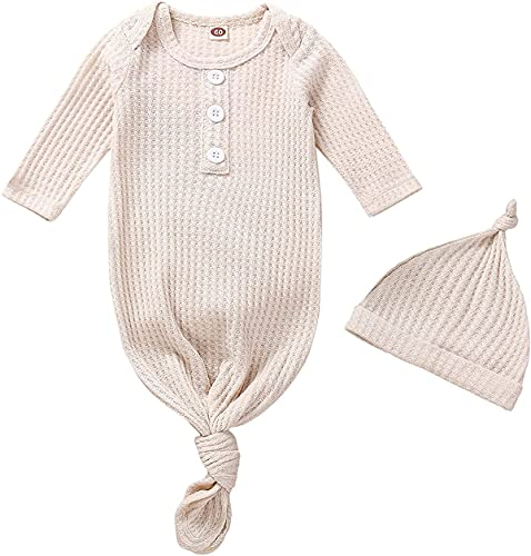 Unisex Baby Striped Cotton Sleeper Gowns with Cap Long Knotted Sleeping Bag (Apricot-walf checks, 0-3 Months)