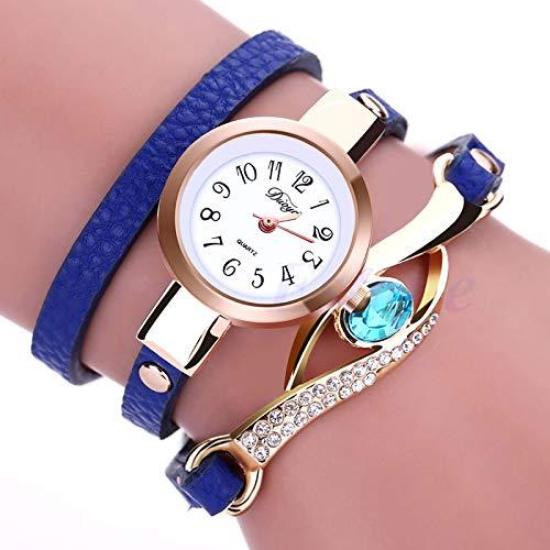 Hero-s Mujeres Blue Eye Leather Band Pulsera de diamantes de imitación Reloj de pulsera casual retro de cuarzo, Elegante reloj de pulsera de inspiración vintage para mujer Reloj de pulsera de lujo
