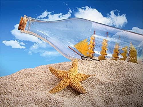 Kit de Pintura 5D DIY Botella de deriva para velero Diamond Painting de Imitación de Cristal,Adultos Lienzo Bordado de Punto de Cruz,Manualidades Para Decoración Round_Drill_40x50cm