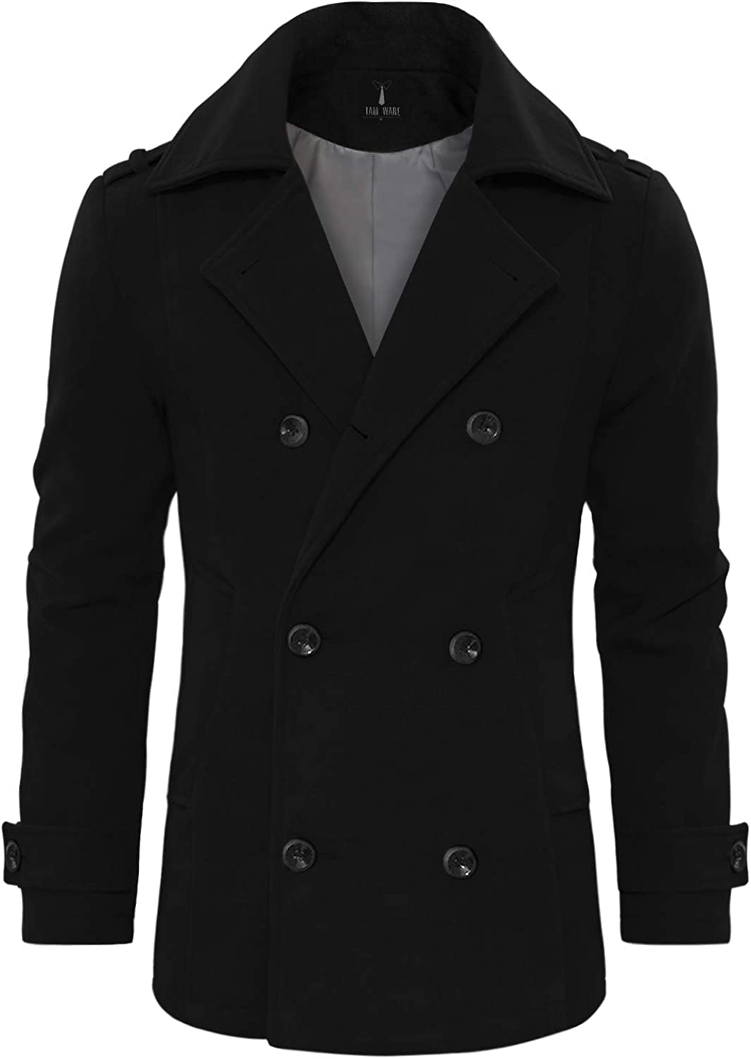 TAM WARE Men's Stylish Wool Blend Double Breasted Pea Coat
