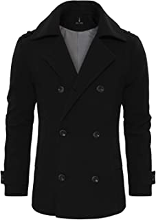Men's Stylish Wool Blend Double Breasted Pea Coat
