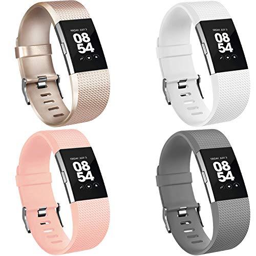 Vancle Pack 4 correas de repuesto para correa Charge 2, correas suaves y cómodas para Fitbit Charge 2 (04 champán, gris, blanco, rosa rubor, S)