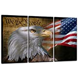EAVUTY 3 Panel USA American Flag Canvas Wall Art Bald Eagle Painting Modern US Flag Print Artwork Home Picture for Bedroom Living Room Office House Stretched and Framed Ready to Hang(36' Wx24 H)