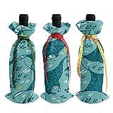 Manta Ray and Fish 3 piezas de cubierta de botella de vino, decoración, bolsas para Navidad, boda, vacaciones