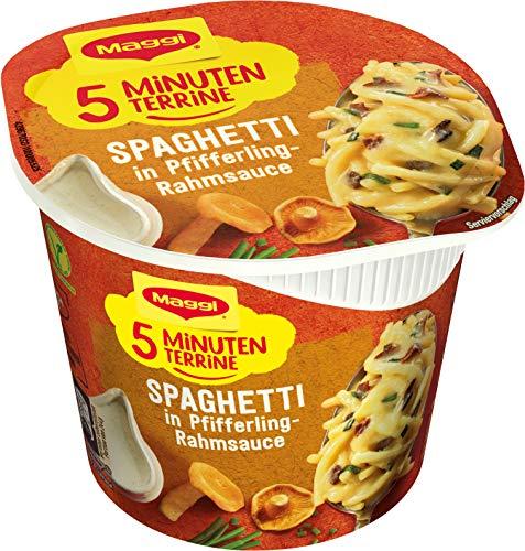 Maggi 5 Minuten Terrine Spaghetti in Pfifferling-Rahmsauce, leckeres Fertiggericht, Instant-Nudeln, mit Pilzen, 1er Pack (1 x 54g)