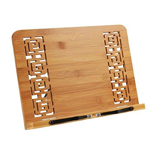 REAYOU leggio in bambù, leggio da tavolo leggio per ricettari e libri in bamboo Supporti per libri da cucina per libro di cucina, ricette, iPad Air 2 3 4, Kindle, Samsung, Tablet PC e più