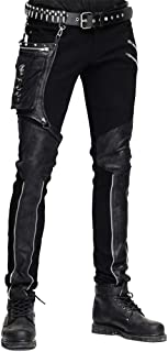 Devil Fashion Casual Pants for Men Punk Patchwork Straight Trousers with Pocket