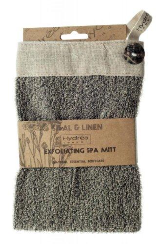 Luxus Peeling Sisal und Leinen Spa Handschuh mit Muschel Knopf