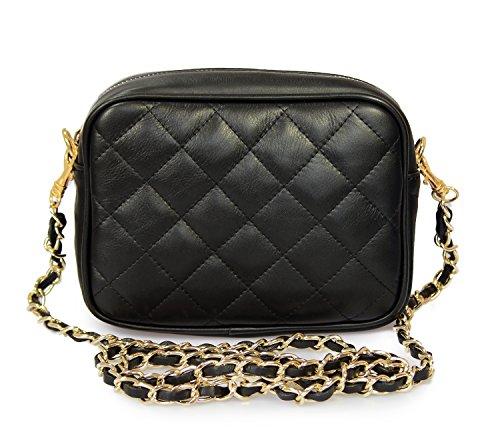 IO.IO.MIO Damen Nappa Leder Handtasche Clutch Schultertasche Umhängetasche gesteppt Damentasche Kettentasche Abendtasche kleine Frauen Handtaschen Crossover Tasche schwarz, 19x14x6,5 cm (B x H x T)