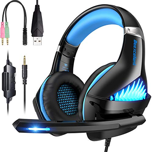 Comfortable PS4 Gaming Headset, Professional 3.5mm Headset with Rotatable, Noise Reduction Mic for PS4, Nintendo Switch,Xbox One, PC, Laptop, Mac,Smart Phone(Over-Ear And LED Lighting)
