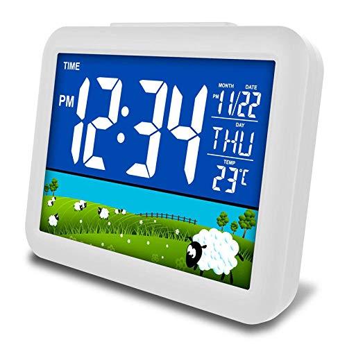 Alarmklocker8B LED digitale wekker met temperatuur nachtlampje elektronische desktop digitale klok sprekende kinderen wakker licht intelligent nachthorloge Grass patroon