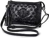 GDFS Handbags Bolso de Hombro para Mujer - Bolso Cruzado con borlas y Tachuelas - Bolso de Mano de Cuero Suave con Correa para la muñeca, Negro - (2 Correas)