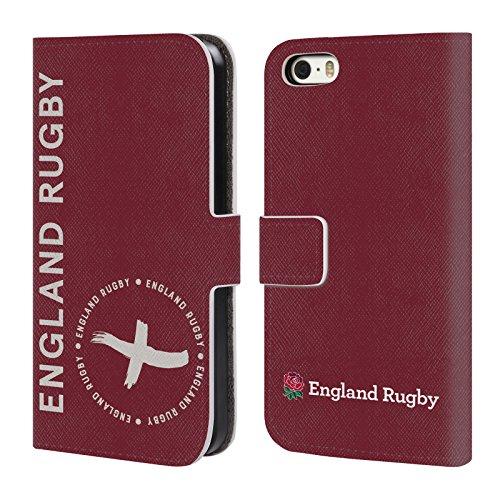 Head Case Designs Official England Rugby Union Bordó Insignias de Rayas Carcasa de Cuero Tipo Libro Compatible con Apple iPhone 5 / iPhone 5s / iPhone SE 2016
