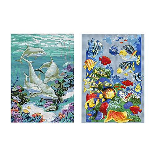 LoveinDIY 2Pcs Full Range of Embroidery Starter Kits Stamped Cross Stitch Kits Beginners for DIY Embroidery (Multiple Pattern Designs) - Tropical Fish & Dolphin