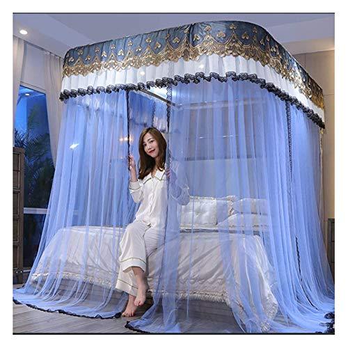 Cortinas de la cama de la cama (azul cielo) - Cortinas de la cama de la guía en forma de U - Cálculo del cifrado celular Hilo de la tienda - Posel de la red de la cama de la princesa para la decoració