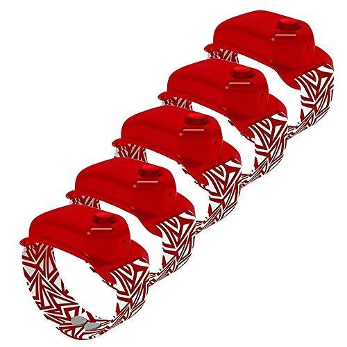 5 Piezas De Pulsera Dispensadora De Gel De Agua Recargable, 0,35 Oz / 10 Ml, Dispensador De Mano Ajustable, Pulsera, Contenedor De LíQuido De JabóN para Adultos Y NiñOs (Rojo)