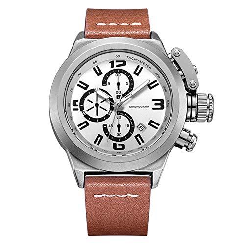 ZBSPM Mens Quartz Watch, Multifunctional Chronograph Clocks Military Army Sport Clock Genuine Leather Quartz Men Watches, Best Gifts for Him, Silver Brown