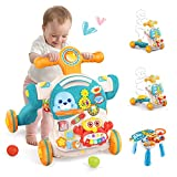 Baby Walker,4 in 1 Baby Push Walker for Boys Girls Sit to Stand Learning Walkers Baby Early Activity Center with Removable Play Panel Music Learning Toys for Toddler Infant Boys Girls