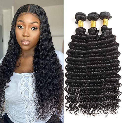 10A Brazilian Deep Wave Human Hair Bundles 24 26 28 inch Wet and Wavy Human Hair Weave Bundles 100% Unprocessed Virgin Curly Hair 3 Bundles