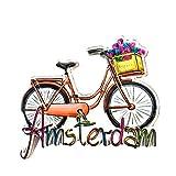 Weekino Bicicleta Amsterdam Países Bajos Imán de Nevera 3D Resina de la Ciudad de Viaje Recuerdo Colección de Regalo Fuerte Etiqueta Engomada refrigerador