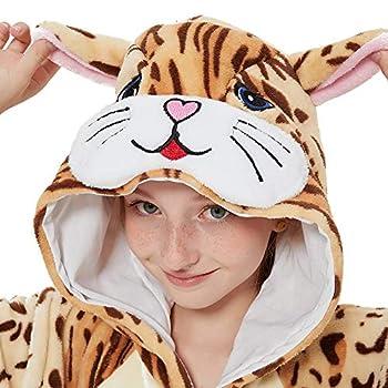 ACOGNA Cat Onesie Kids Animal Girls Costume Pajama Holiday Halloween Christmas Fleece Sleepwear Cosplay Suit 140