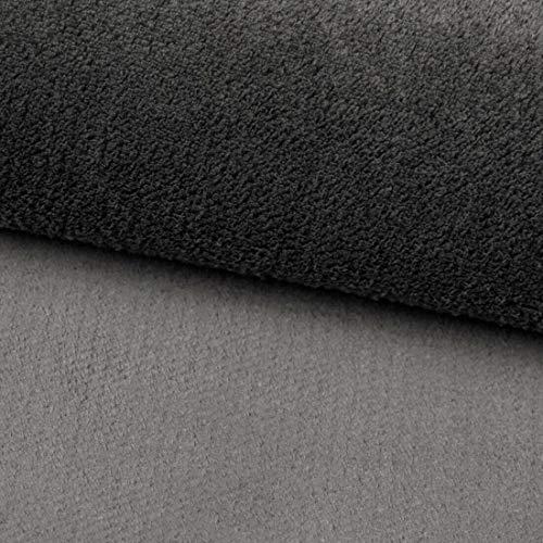 Teker Fluffy Polsterstoff Möbelstoff Meterware - z.B. Stoff für Stühle oder Eckbank Bezug - Dunkelgrau