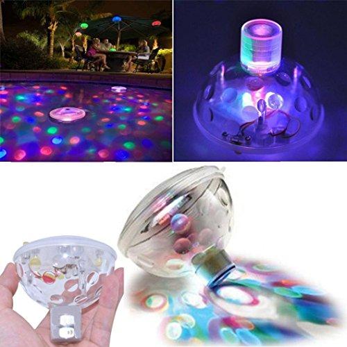Xshuai® Lampe étanche flottante RVB LED Disco Aqua Glow multicolore clignotante pour salle de bain, bassin, piscine, spa, jacuzzi, fête, nuit, transparent