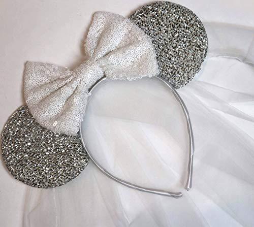 CLGIFT Bride Minnie Mouse Ears Headband, White Veil Bride Minnie Ears, Honeymoon Ears, Wedding Ears, Bachelorette Party Ears (Silver & White)
