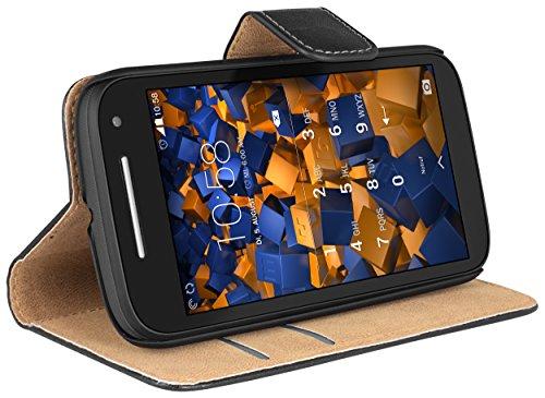 mumbi Tasche Bookstyle Case kompatibel mit Motorola Moto E2 Hülle Handytasche Case Wallet, schwarz