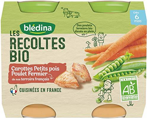 Blédina, Les Récoltes Bio, Petits pots pour bébé bio, Dès 6 Mois, Carottes, Petits Pois, Poulet, 2x200g
