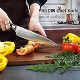 PAUDIN Kochmesser, Klingenlänge 20cm Profi Küchenmesser Messer Chefmesser Allzweckmesser aus hochwertigem Carbon Edelstahl, Extra Scharfe Messerklinge mit ergonomischer Griff