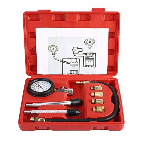 EBTOOLS Benzin Kompressionstester,Kupfer Benzinmotor Kompression Tester Kit Auto Benzin Gas Motor Zylinder Automotive Test Kit Kfz Werkzeug Messgerät mit Tragetasche