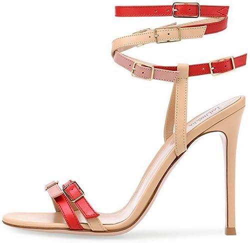 GHFJDO Sandales à Paillettes, Chaussures à Talons Hauts, Sandales à Talons Ouverts,rouge,43EU
