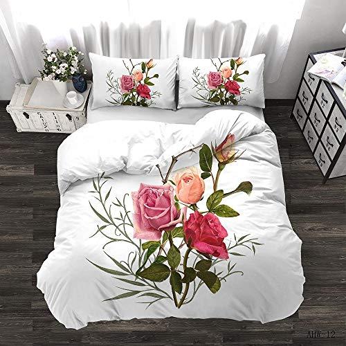 Zyttao Ropa de Cama con Estampado de Rosas en 3D, Novia, tamaño King Doble Individual, cómoda Funda nórdica y Funda de Almohada-6_240 * 220cm3 (pcs)