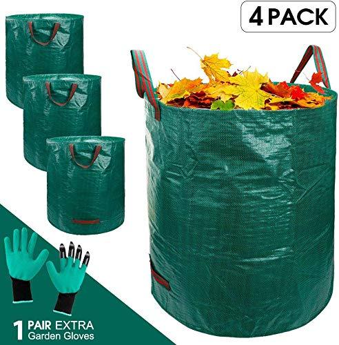 MASTERTOP 4er Gartensack 272 L - 1 Gartenhandschuhe - 4 reißfeste Griffe - Laubsäcke aus extrem robuste Polypropylen-Gewebe (PP) - Abfallsäcke für Gartenabfälle, Pflanz Grünschnitt