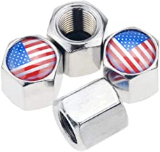 American Flag Valve Stem Caps equipped key chain dust-proof Air Valve Caps Cover For Cars, Trucks, Bikes, Motorcycles, Bicycles (Silver)