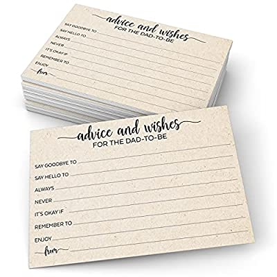 """321Done Advice and Wishes for The Dad-to-Be (50 Cards) 4"""" x 6"""" for Baby Advice Cards for Baby Shower Game Simple Elegant - Made in USA - Kraft Tan Large from 321Done"""