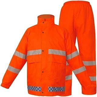 Qivor Waterproof clothing Adult Reflective Raincoat Reflective Waterproof Sleeve Fluorescent Yellow Green Suit Raincoat Ra...