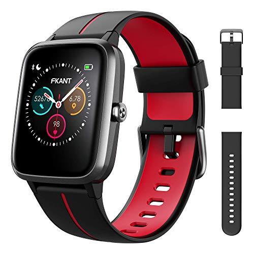 FKANT Smartwatch Herren Damen GPS Fitness Armband Sportuhr Bluetooth 1.3'' Voll Touchscreen 5ATM Wasserdicht Fitness Tracker mit Pulsuhr Schrittzähler Musiksteuerung Stoppuhr DIY Hintergrund Anruf SNS