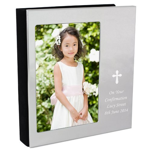 Gift Cookie Personalised Silver Cross 6x4 Photo Album - Free Engraving - Perfect for Christening, Baptism, Holy Communion, Confirmation and Wedding