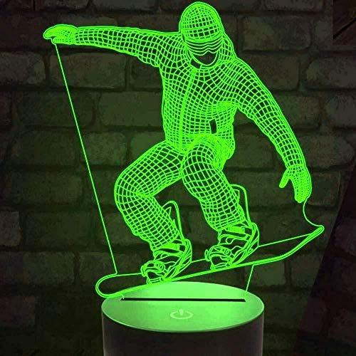 HJW-CD 3D Snowboard Nachtlicht Lampe 7 Farbwechsel LED Touch USB Tisch Geschenk Kinder Spielzeug Dekor Dekorationen Weihnachten Geburtstagsgeschenk