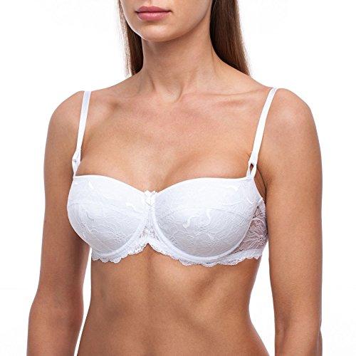 frugue Damen Dirndl Push Up BH - mit Bügel - Spitzen Sexy BH Weiß 90C